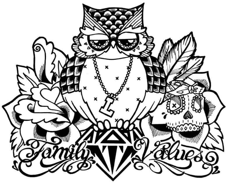 Family Values Owl And Skull Tattoo Designs