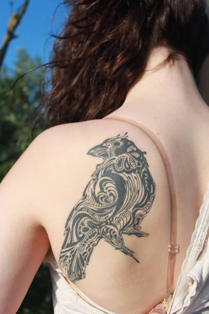 Fancy Crow Tattoo On Left Back Shoulder