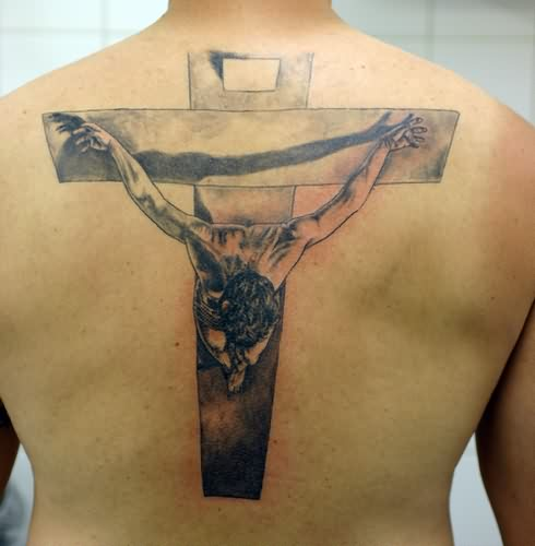 Fantastic 3D Jesus Cross Tattoo On Back
