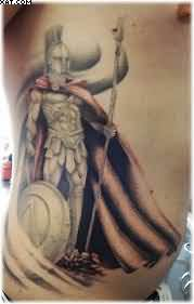 Fantastic Spartan Warrior Tattoo On Rib Side