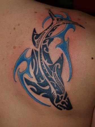 Fantastic Tribal Shark With Wave Tattoo On Back Shoulder