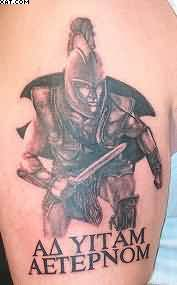 Fantastic Warrior Tattoo For Biceps