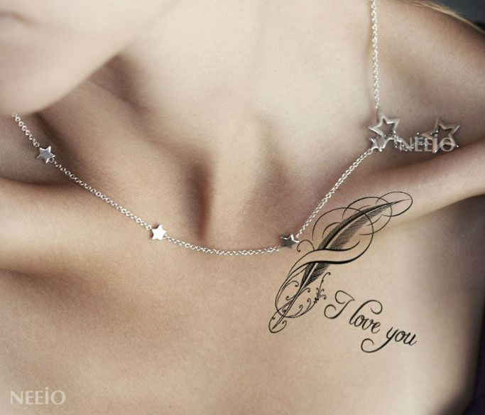 Fantasy Feather Black Temporary Collarbone Tattoo