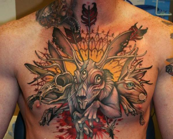 Fantasy Rabbit Tattoo On Chest