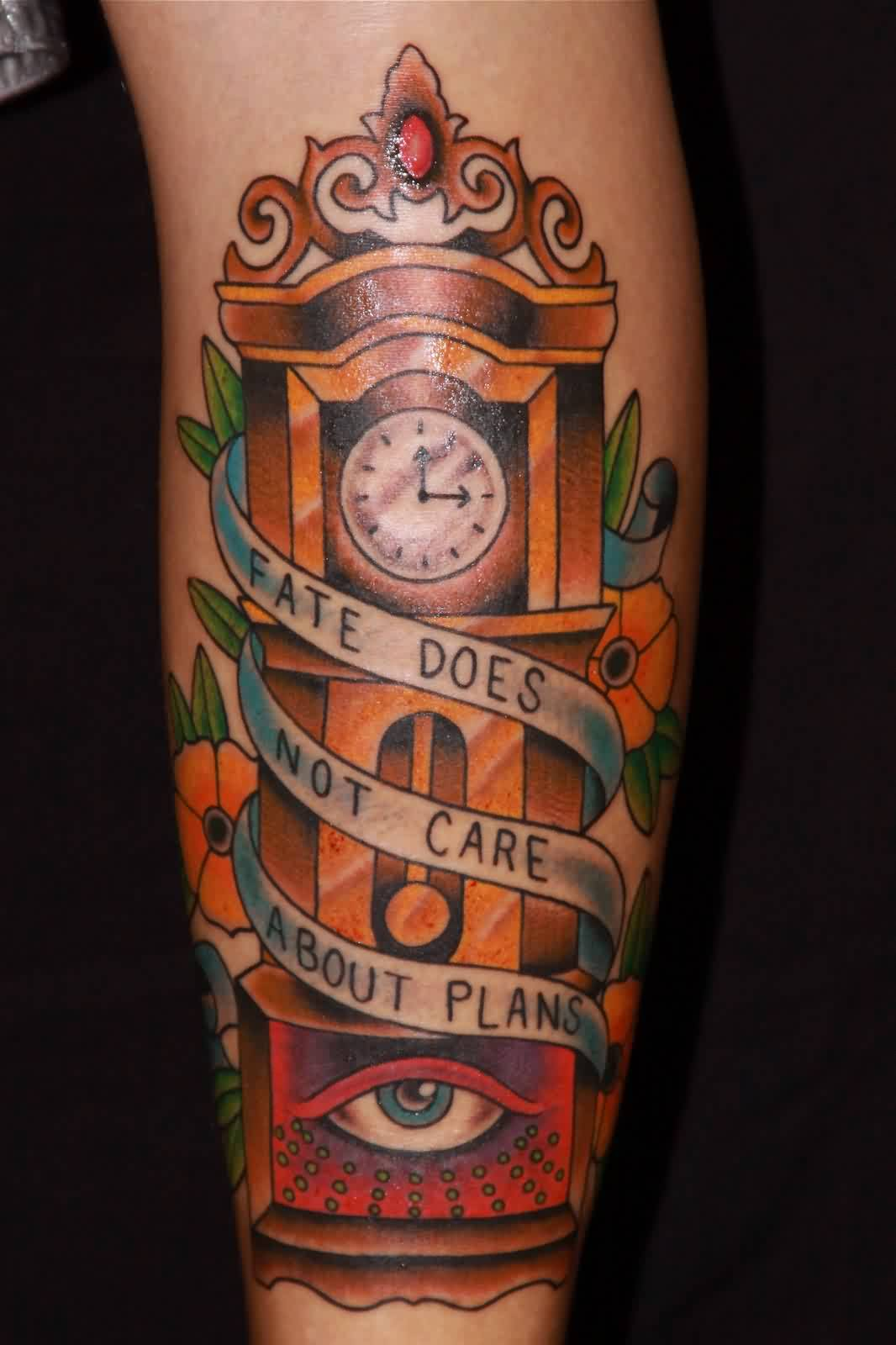 Fate Not Care About Plans - Clock Tattoo