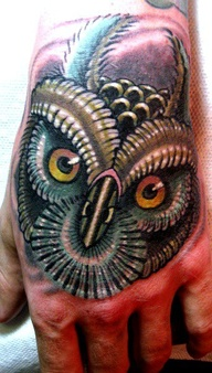 Feathers Owl Head Tattoo On Hand