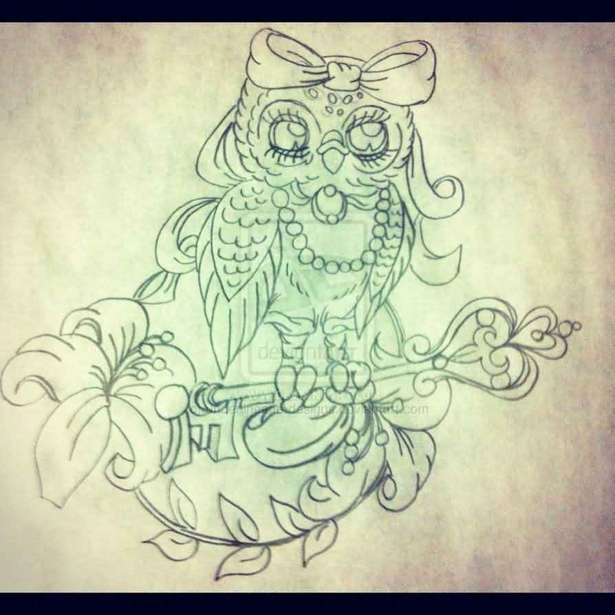Female Owl Complementary Tattoo Sketch