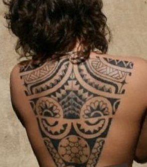 Feminine Polynesian Tattoos On Topless Back