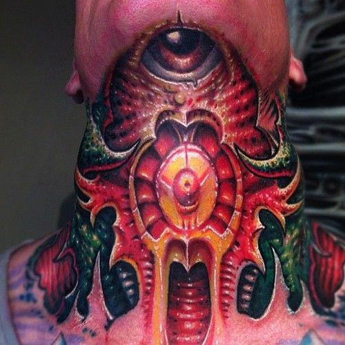 Fire Color 3D Bioorganic Tattoo On Neck