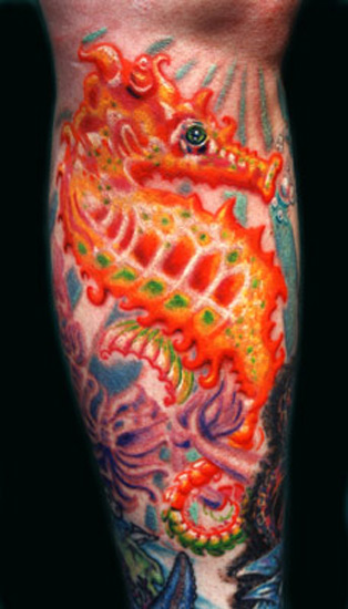 Fire Color Seahorse Tattoo