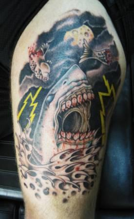 Fish And Shark Crawl Tattoos On Half Sleeve