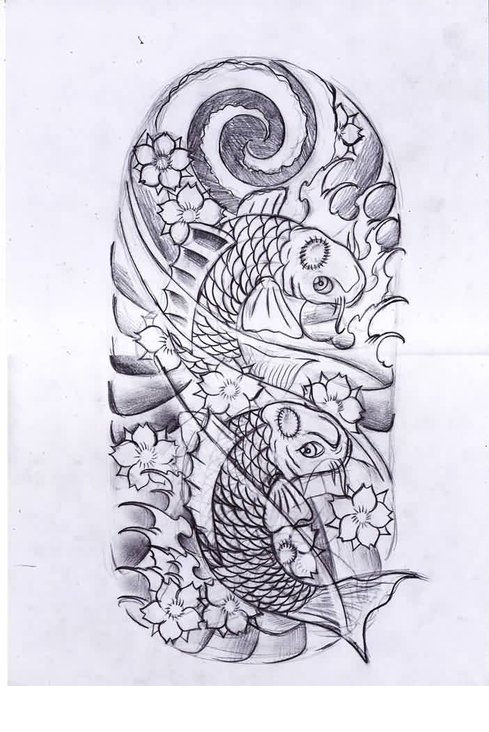 Fishes And Wave Tattoos Sketch