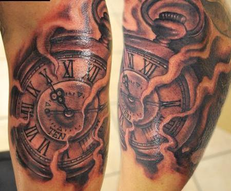 Flames And Clock Tattoos