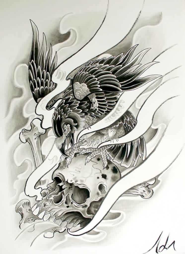 Flames And Crow Skull Tattoo Design