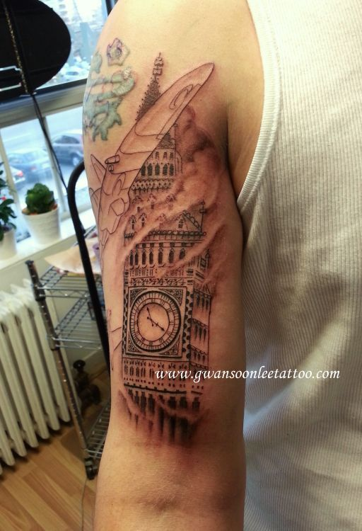 Flames And Tower Clock Tattoos On Arm