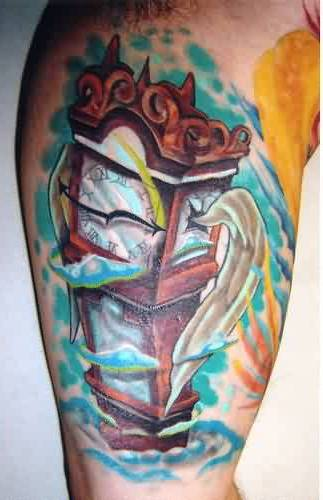 Flames And Wooden Clock Tattoos