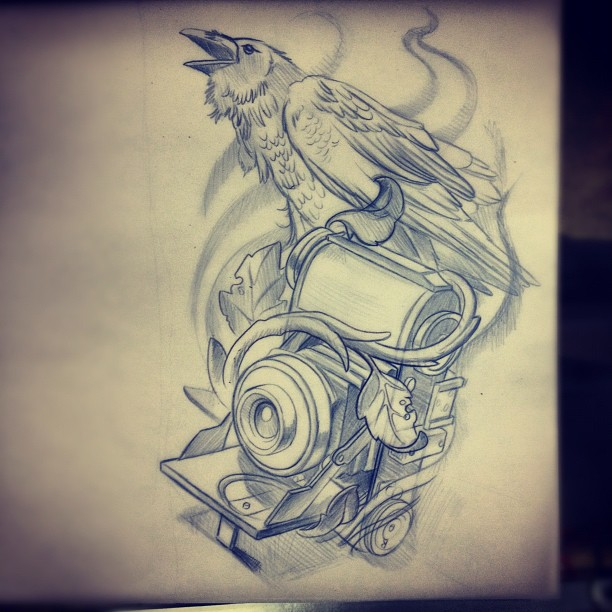 Flames Crow And Camera Tattoos Sketch