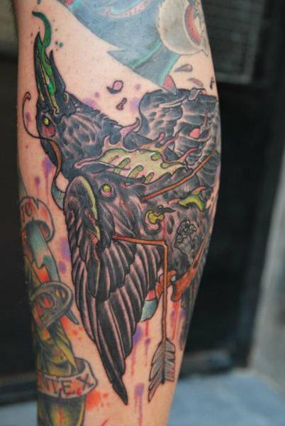 Flames From Dead Crow Tattoo