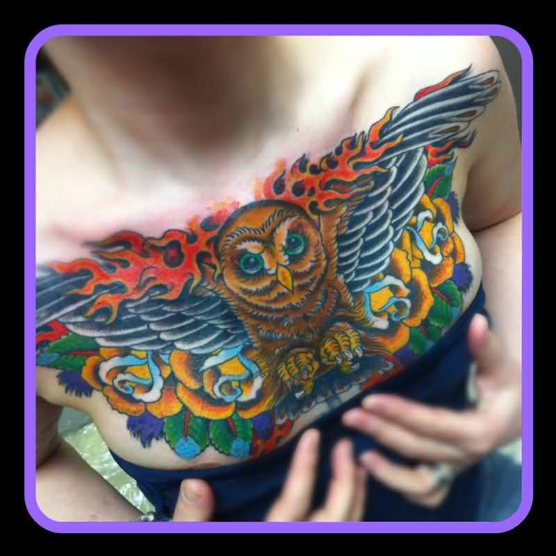 Flames Owl And Rose Tattoos On Entire Chest