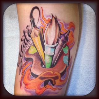 Flames Pencil And Airbrush Tattoos