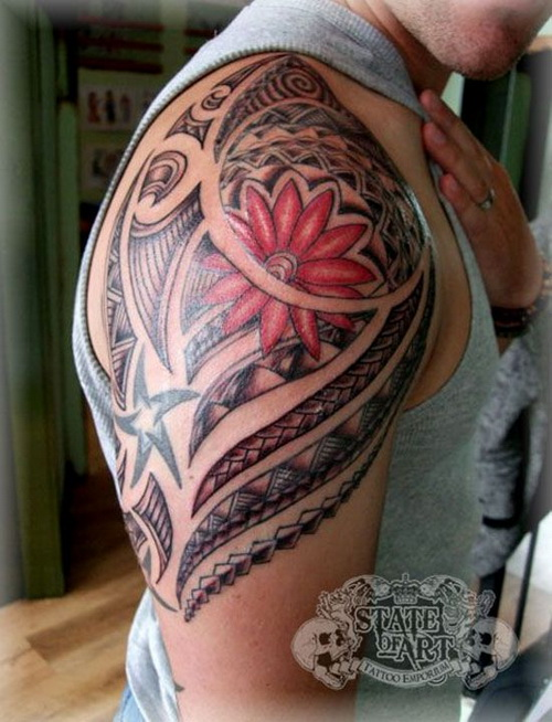 Flower And Polynesian Tattoos On Shoulder For Guys