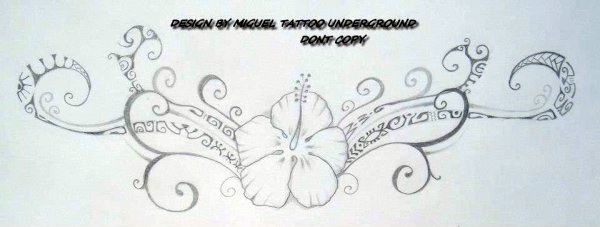 Flower And Polynesian Tattoos Sketch