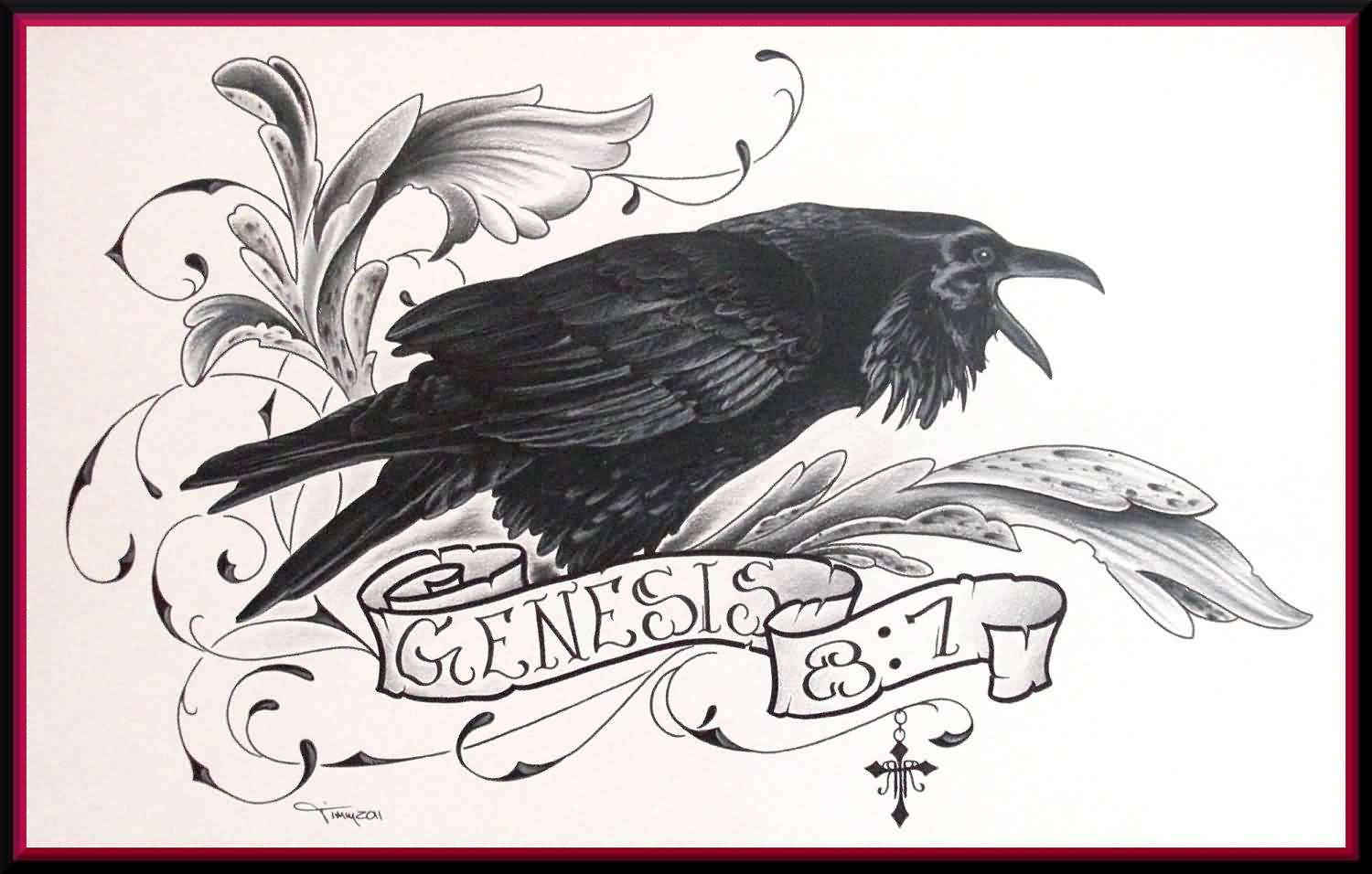 Flower Crow And Banner Tattoos Photo