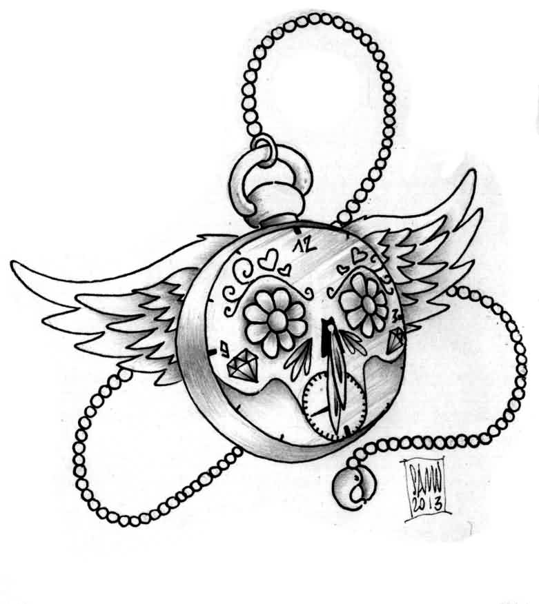 Flower Eyed Clock With Wings Tattoo Design