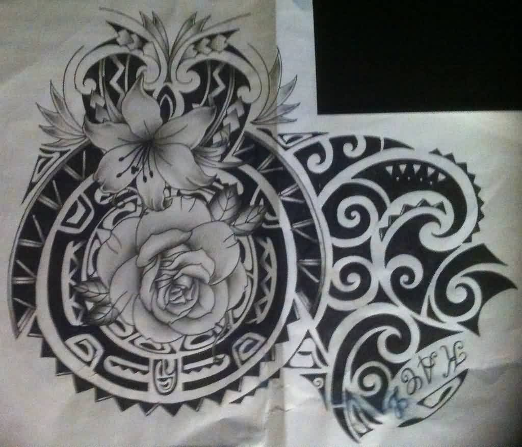 Flowers And Black Polynesian Tattoo Designs