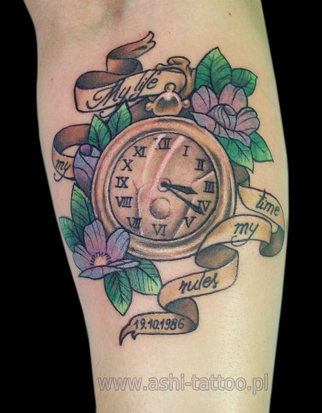 Flowers And Clock Tattoos