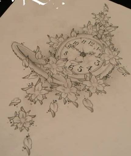 Flowers And Clock Tattoos Drawing