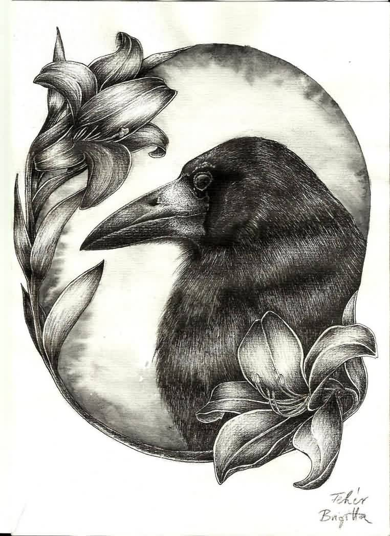 Flowers And Crow Tattoos Design