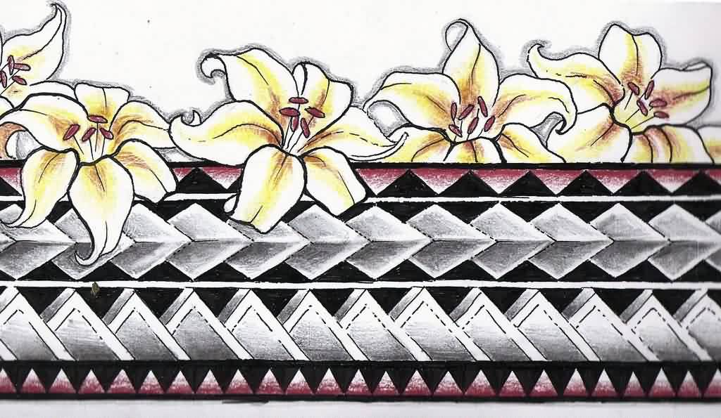 Flowers And Polynesian Armband Tattoo Designs