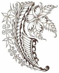 Flowers And Polynesian Tattoo Designs