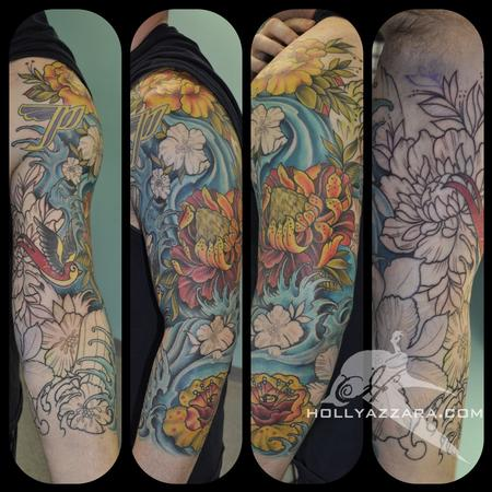 Flowers And Waves Sleeve Tattoos