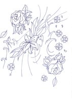 Flowers And Waves Tattoos Sample
