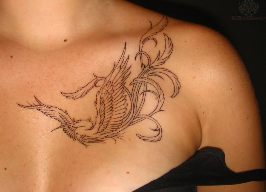 Flying Bird Tattoo On Collarbone
