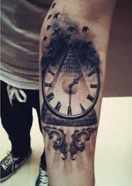Flying Birds And Clock Pyramid Tattoos On Forearm