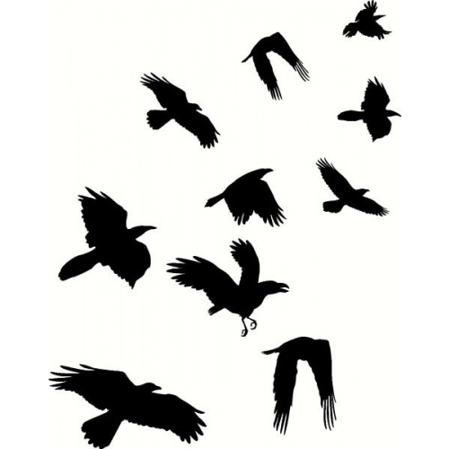 Flying Black Crows Tattoos Designs
