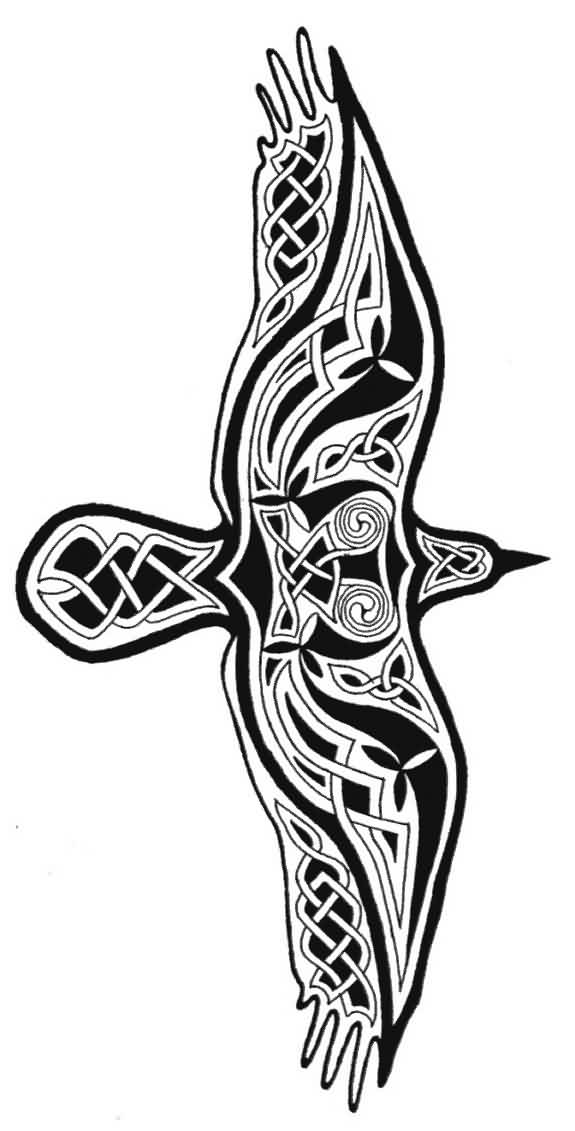 Flying Celtic Crow Tattoo Model