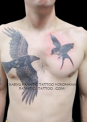 Flying Crow And Bird Tattoos On Chest