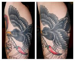 Flying Crow With Chilly Tattoo