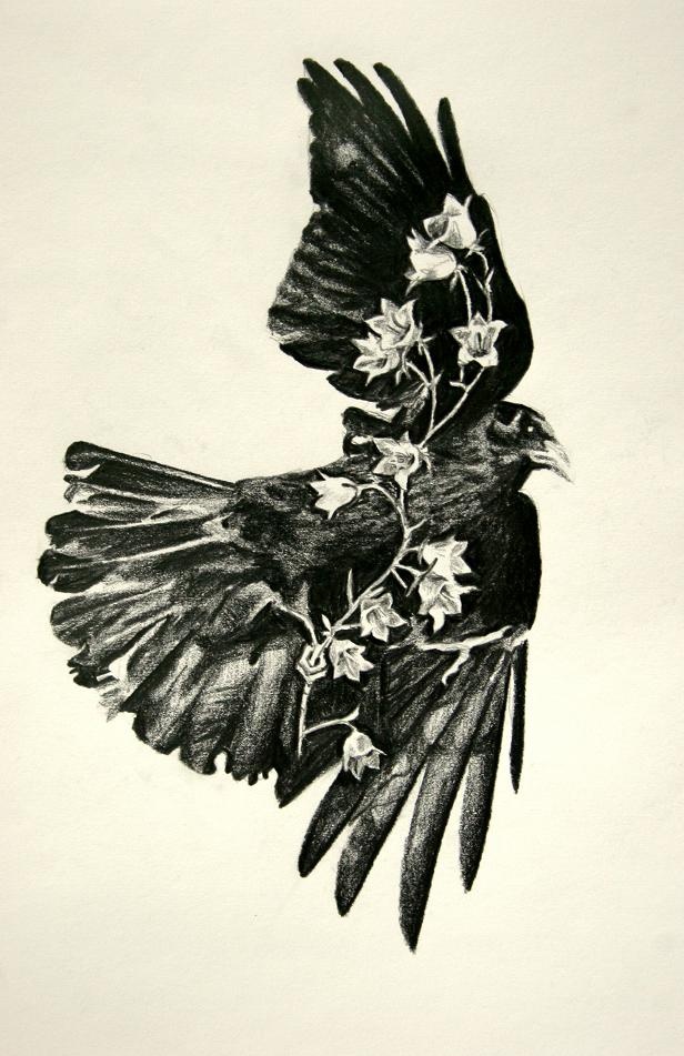 Flying Crow With Flowers Tattoo Print