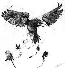Flying Crow With Wooden Wings Tattoo Sample