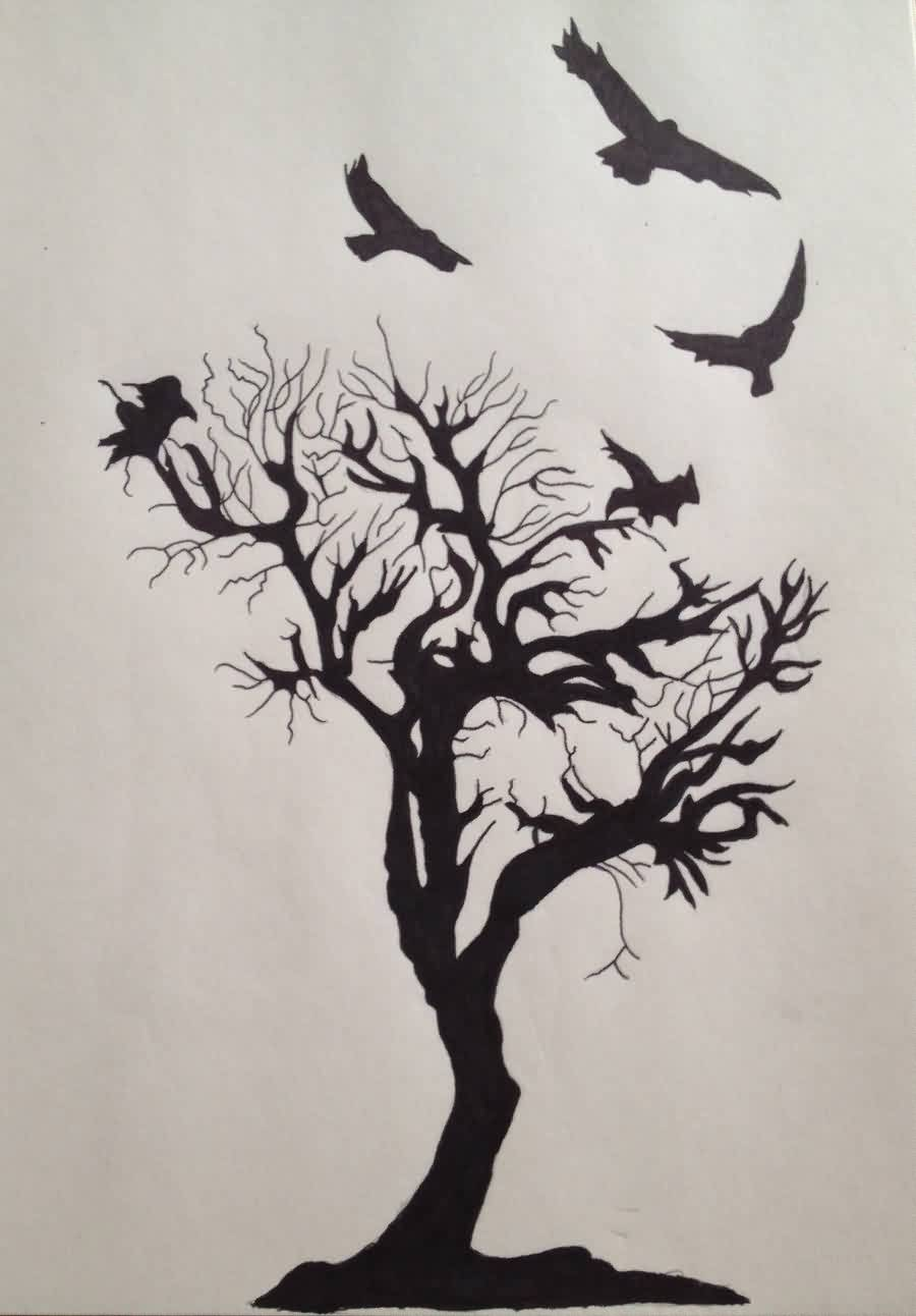 Flying Crows And Tree Tattoo Deisgn
