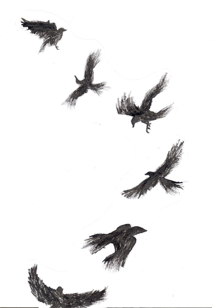 Flying Crows Tattoos Design