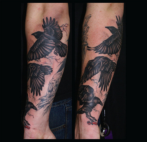Flying Crows Tattoos On Arm (2)