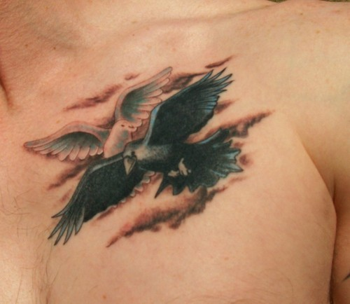 Flying Dove And Crow Tattoos On Chest
