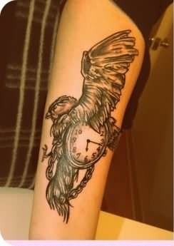 Flying Eagle With Clock Tattoo On Arm