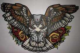Flying Owl And Red Roses Tattoos Designs